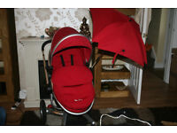 Silver Cross Surf Pushchair in Red Chilli with Foot Muff and Rain Cover & Parasol