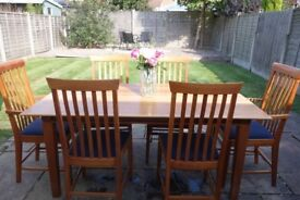 Nissen & Gehe Naver Collection Designer Cherry Wood Dining Table with 6 Chairs