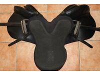 "Black, 16 1/2"", GP Saddle, with Stirrups, Gel Seat and Strap"
