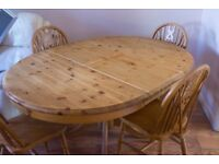 Solid Pine Round Extendable Table & 4 Chairs