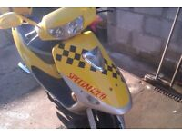 electric moped as new condition yellow and black with 48v charger fully working