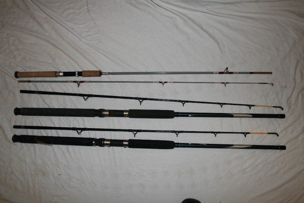 3 old boat fishing rods all 7ft 2x ron thompson boat