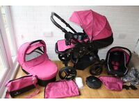 Venicci pram travel system and extras 3 in 1 - pink and black CAN POST