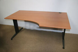 "Bisley Wings ""L"" Desk in Cherry 160cm (l) x (100cm to 80cm) (d) x 60cm (h) Right Hand"