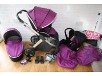 Oyster 2 purple pram pushchair with car seat 3 in 1 CAN POST