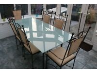 Wrought Iron Dining Table & Chairs with 8 Seats