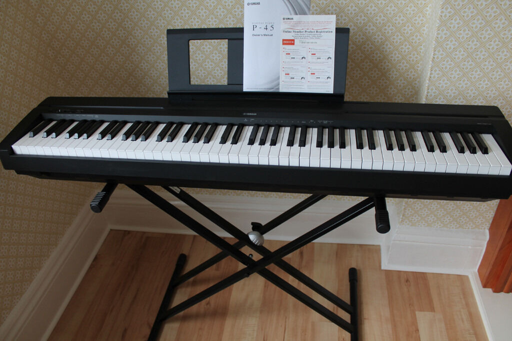 yamaha p45 digital piano black with stand and sustain
