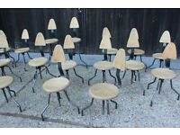 18 small Industrial Metal and Wood Rustic Stools Chairs joblot.