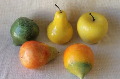 Vintage Heavy Marble Stone Collectible FRUIT  Apple, Pear, Apricot