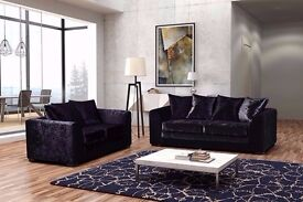 ❤ Pay on Delivery ❤ New Extra Padded Dylan Crushed Velvet Corner Sofa Or 3+2 Sofa in Black & Silver