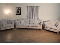 Ex-display Windsor natural self floral fabric 4 seater sofa and 2 love seats