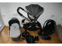 iCandy Peach 3 Truffle grey pram pushchair and car seat 3 in 1 travel system **can post**