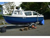 Orkney Coastliner 15 foot Fishing boat with engine and trailer