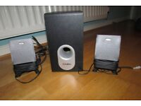 Compact speakers - 2 x mini speakers plus bass woofer - excellent sound - mains