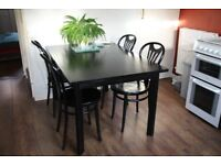 Habitat Black Ash dining table with six chairs.