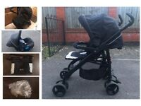 Silver Cross 3D Pushchair/stroller, travel system inc car seat and carrycot