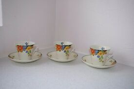 Beautiful Vintage Hand Painted Art Deco Palissy China Cups and Saucers