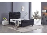 AMAZING DISCOUNT-King Size Plush Velvet Ottoman Storage Sleigh Bed Frame in different colors