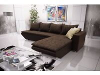 Corner sofa bed sofa bed UK STOCK 1-5 DAY DELIVERY Lucca Brown