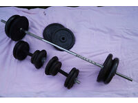 Weight set, Barbell and Dumbells, cast iron 110kg
