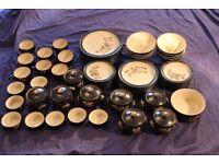 Denby Bakewell pattern dinner service 62 pieces Plates, soup, ramekins, bowls, cups, soufflé