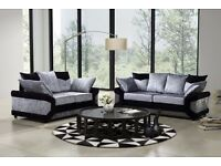 BLACK AND SILVER MIX -- BRAND NEW DINO CRUSHED VELVET SOFA | CORNER WITH FOOTSTOOL | 3 AND 2 SOFA |