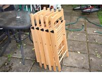 5 IKEA Wooden Folding Chairs good condition Comfy and very compact when folded