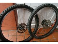 Mountain Bike Wheel Set Quality Sun Rim Stainless Steel Spokes 160 mm Rotors Can Deliver If Local