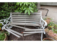Garden bench (cast iron ends) - broken wooden slats