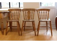 3 Pine Dining Chairs