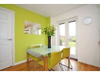 EXTENDING FROSTED GLASS AND CHROME DINING TABLE WITH 4 LEATHER CHAIRS