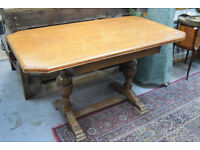 Large Wooden Dining Kitchen Table Solid Vintage Good Condition