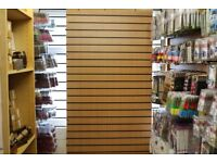 Wooden Slatwall Board Beech Wood Colour with Black Inserts 8ft x 4ft