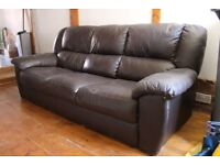 3 Seater brown faux leather effect sofa.