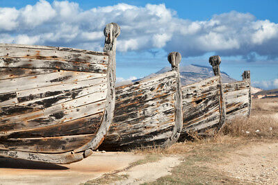 Old Wooden Sicilian Fishing Boats Photo Art Print Poster 18x12