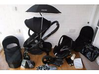 Icandy Peach 3 Black Jet pram travel system 3 in 1 + extras CAN POST