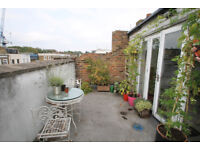 very spacious 2 double bedroom flat spread over two floors with large roof terrace in Islington N1.