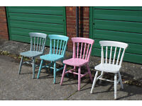 4 x Mid Century Shabby Chic Painted Chairs 1.4