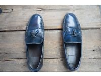 size 9 Tassel Loafers In Blue Leather With Fringe