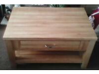 Solid Oak coffee table/tv stand with draw and shelf