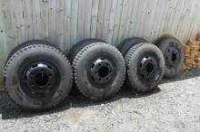 "7 Tyres + Rims - 6 Stud 16"" Bridgestone MIX 857 7.5R16 Wheels Tin Can Bay Gympie Area Preview"