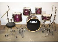 Mapex M Series Violet Lacquered 5 Piece Full Drum Kit (22in Bass) + Stands + Stool + Cymbals