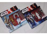 "4 x STAR WARS 3.75"" figures (2 twin packs) PRINCESS LEIA / HAN SOLO / R2-D2 / C-3PO - NEW"
