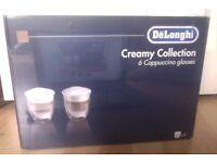 DeLonghi Creamy Collection 6 Cappuccino Glasses Unwrapped