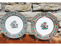 Pair of (almost) Matching Mid - Victorian 1868 Neoclassical Greek Style 19th Century Plates