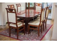 Cherrywood dining table and 6 x chairs, Extendable. Great condition (see description).