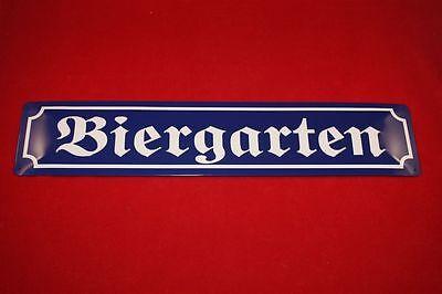 """""""Biergarten"""" Straßenschild Nostalgieschild  Blechschild Bier 3D Prägung 46x10 cm"""