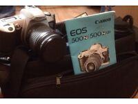 VINTAGE CANON E500N Camera, Camera Bag, Lens, Flash Kit