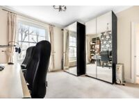 Two IKEA PAX Black-Brown Wardrobes with Mirror Doors