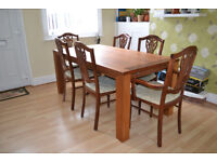 Large dining table and 6 chairs (dark wood)